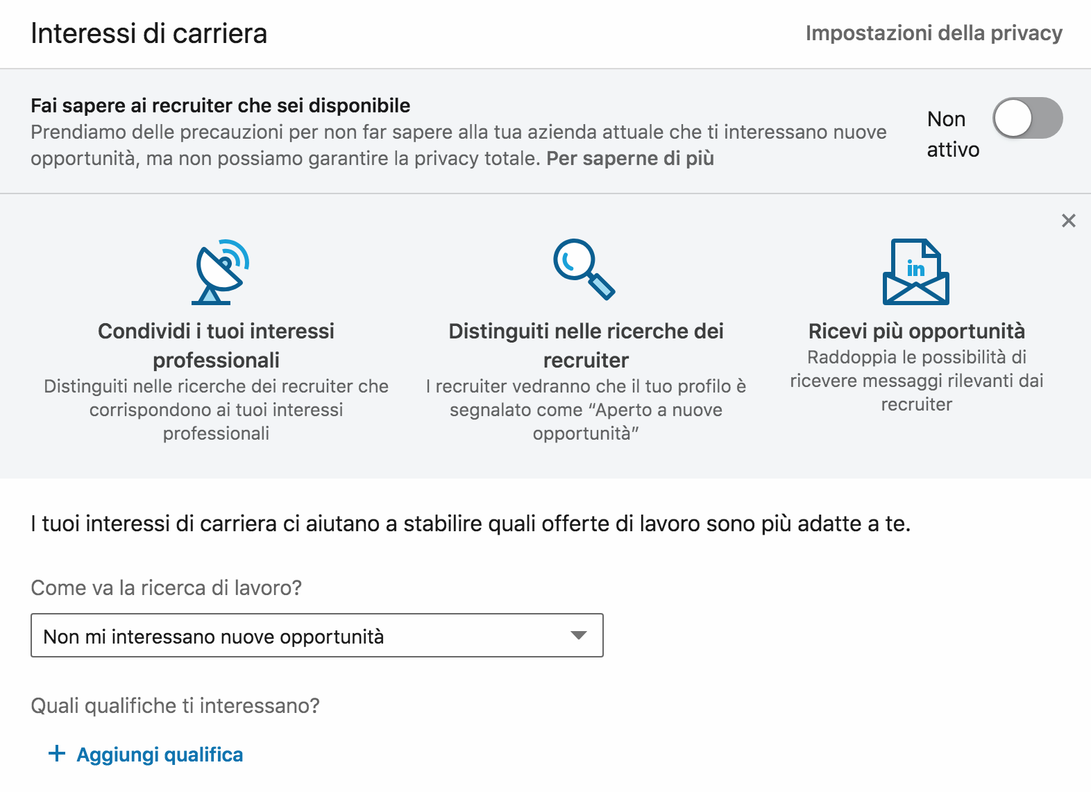 gli interessi di carriera su linkedin